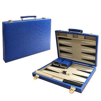 Ostrich Grained Leatherette Backgammon Set