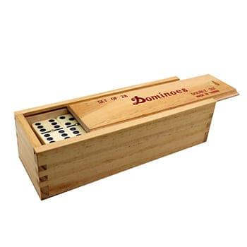 Conjunto Domino em caixa de madeira com tampo deslizante